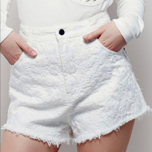 Free People White Embroidered High Waist Shorts